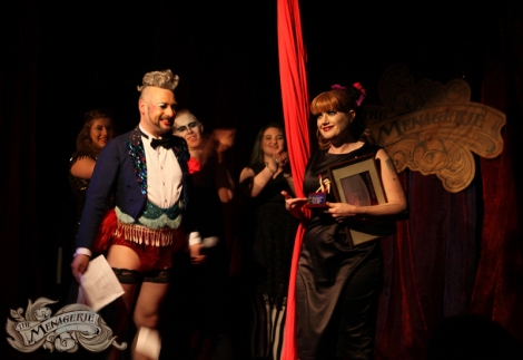Rachel Rouge presented with an award for being fabulous by The Fringe bar - photo by Paradox Photography