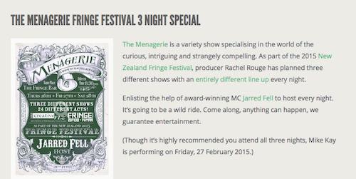 Mountebank Entertainments event listing