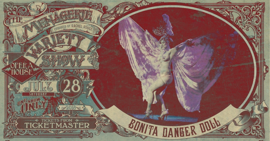 Bonita Danger Doll, The Menagerie Variety Show Wellington Opera House 28th July 2018
