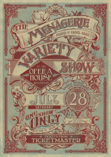 The Menagerie, Saturday the 28th of July, 8pm The Wellington Opera House