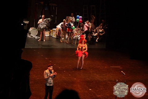 Rachel Rouge, Matt Powell and the cast, The Menagerie Variety Show, Wellington Opera House, July 2018