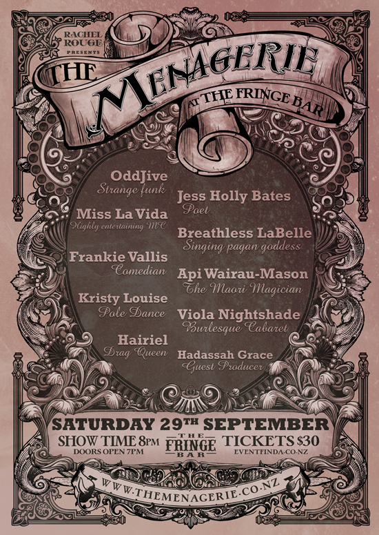 The Menagerie, Saturday the 29th of September, 8pm The Fringe Bar