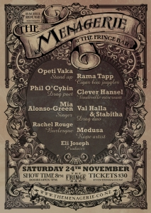 The Menagerie, Saturday the 24th of November, 8pm The Fringe Bar