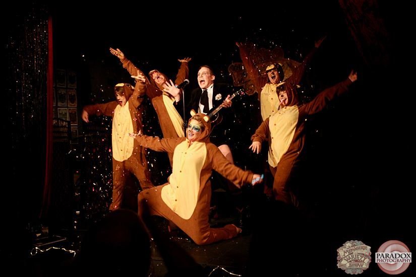 Singing bear finale, photo by Paradox Photography, Wellington variety show.