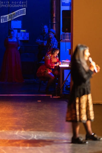 Michèle A'Court with Rachel stage managing in the background photo by Erik Norder